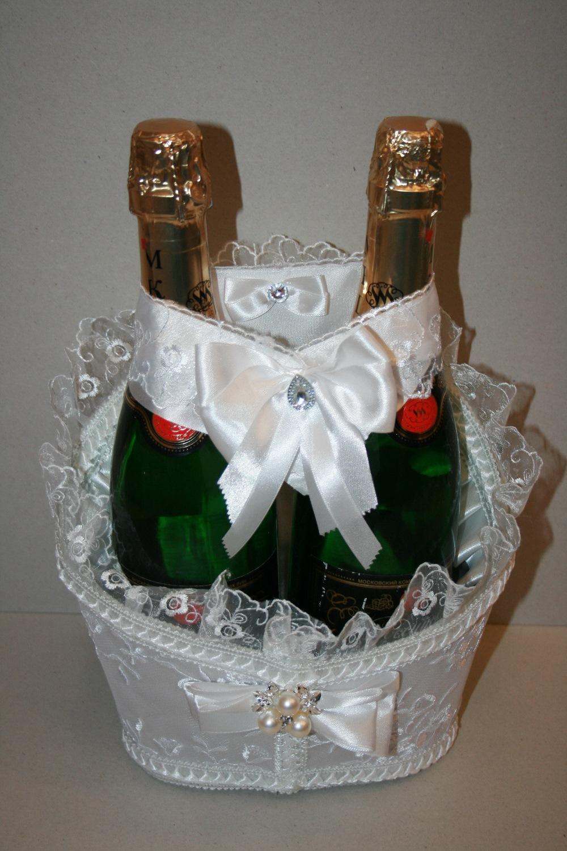 Корзинка для шампанского свадебная своими руками