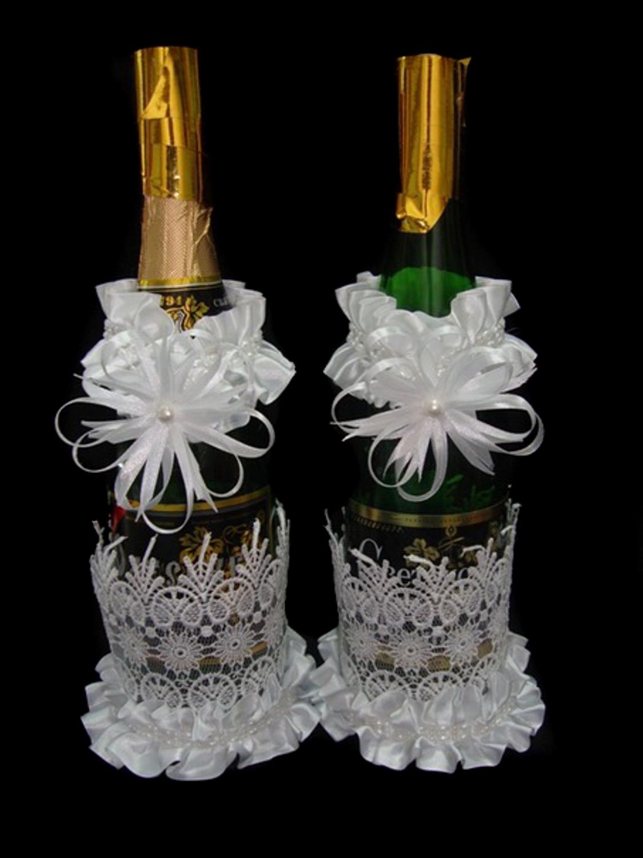 Как сделать украшение для бутылки шампанского на свадьбу